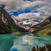 Sun and Clouds Over Lake Louise by Samantha Decker