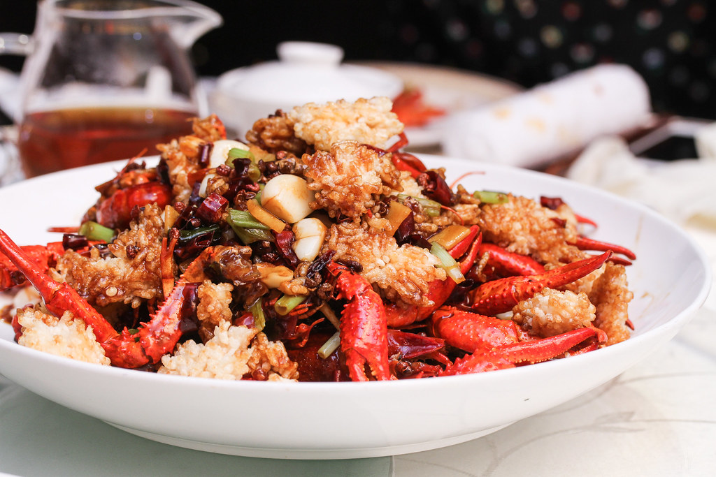 Si Chuan Dou Hua Restaurant's Stir-fried Fresh Baby Lobster and Crispy Rice Bubble with Dried Chilli (糊辣锅粑小龙虾)