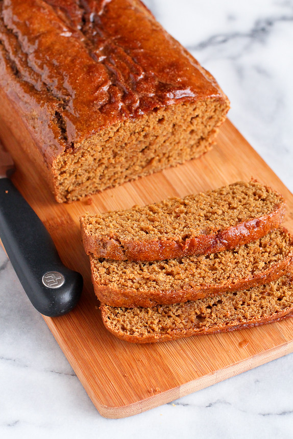 Whole Wheat Gingerbread Quick Bread with Maple Glaze…Fantastic flavor and texture in the holiday quick bread. 122 calories and 3 Weight Watchers PP | cookincanuck.com