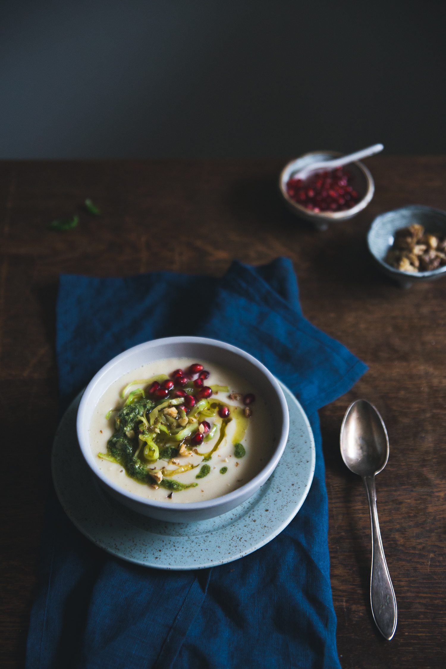 Roasted Parsnip & Butter Bean Soup with Caramelized Cabbage, Walnut Pesto & Pomegranate | Cashew Kitchen
