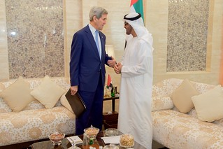 Secretary Kerry Stands With U.A.E. Crown Prince Mohammed bid Zayed in the Mina Palace
