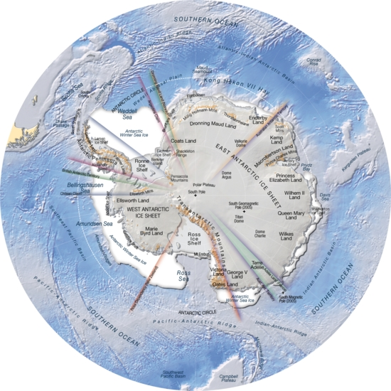 Antarctica, topography and bathymetry (topographic map) | GRID Arendal