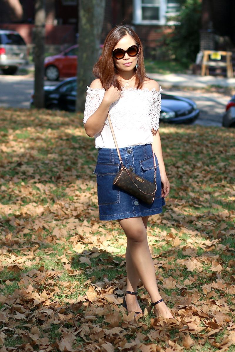off-shoulder-lace-button-skirt-louis-vuitton-eva-bag-5