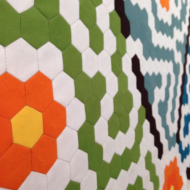 Seven garden maze quilt in progress