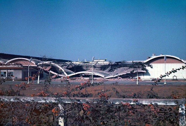 Vinatexco textile mill after being attacked by A1-E's, Huey gunships, and USAF jets with napalm