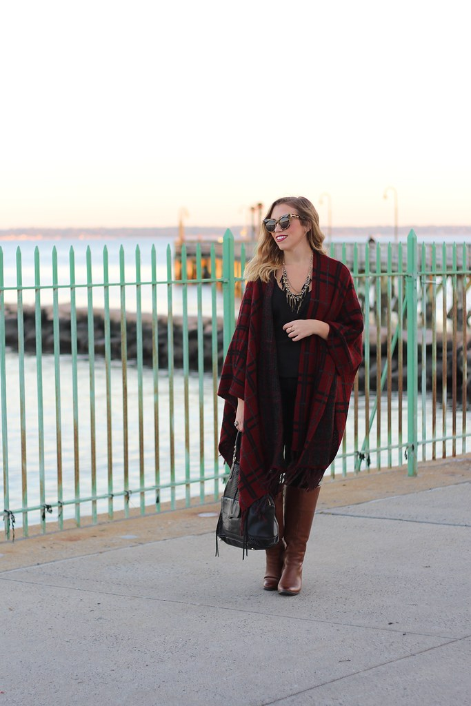 Plaid Cape | Brown Wide Calf Boots | Fall Fashion Outfit