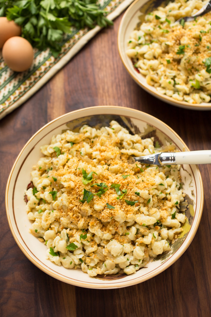Spaetzle with Caramelized Onions and Herbs