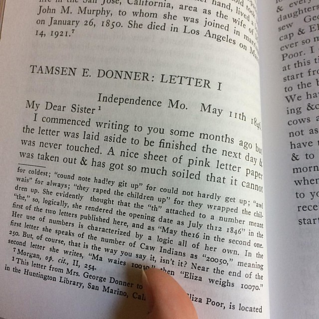 Have reached the Donner Party letters. Yes, *those* Donners. #readathon #deweysreadathon #donnerparty #ladyjournals