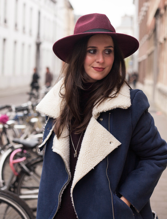 70s inspired burgundy wide brim hat, shearling coat