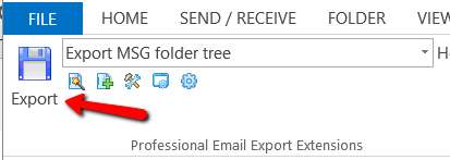 MessageExport toolbar in Outlook 2013 with position of Export button indicated
