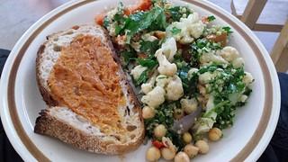 Salad, bread, dip