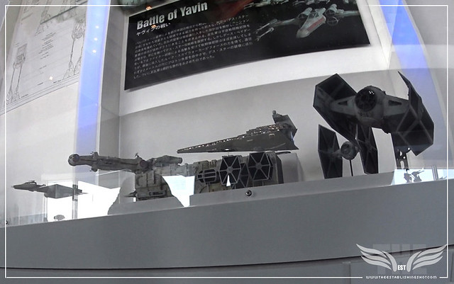 The Establishing Shot: STAR WARS VISIONS EXHIBITION - VISION OF BATTLE - BATTLE OF YAVIN: HOME ONE FRIGATE, X-WING STARFIGHTER, A-WING STARFIGHTER, TANTIVE IV - BLOCKADE RUNNER, STAR DESTROYER, DARTH VADER'S TIE ADVANCED X1 FIGHTER, TIE FIGHTER, BTL Y-WIN