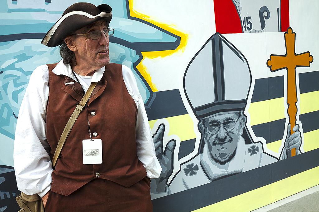 Clark DeLeon during Pope Francis' visit--Center City