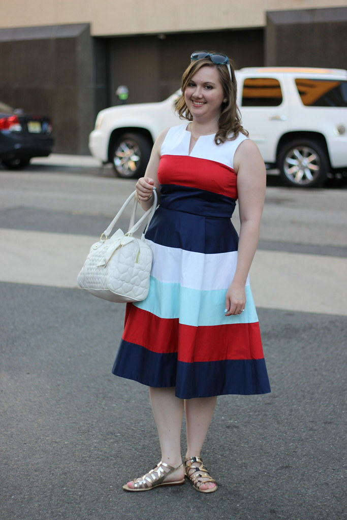 Kate Spade Striped Corley Dress with gladiator sandals.