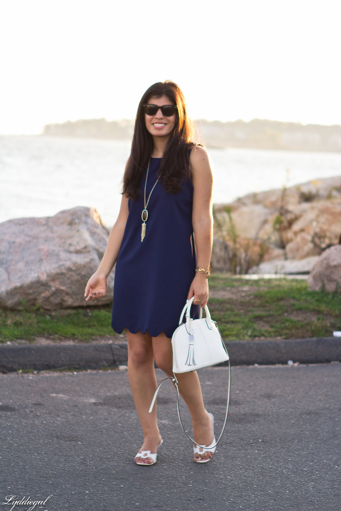 navy scalloped dress, white bag and sandals-3.jpg