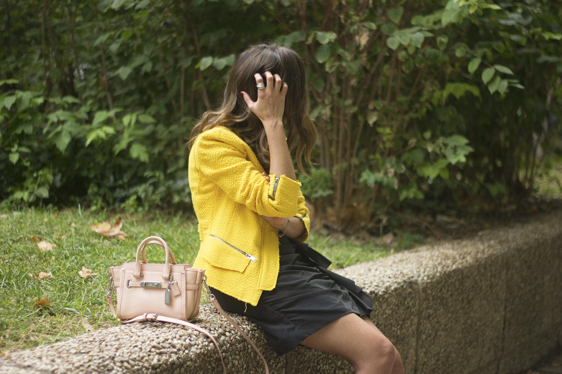 Yellow Jacket Draped Grey Skirt Outfit19
