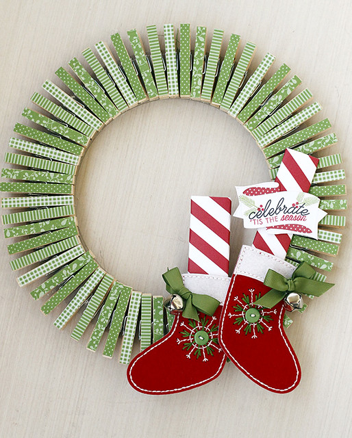Elf Wreath with Clothespins Using Dies From Papertrey Ink