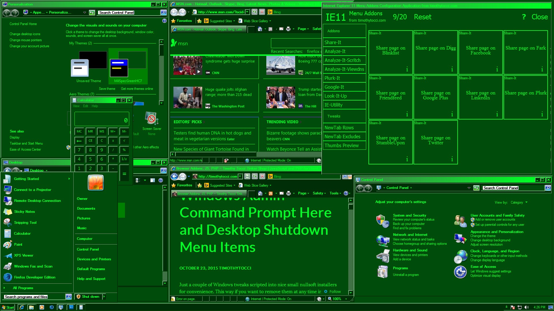 MilSpecGreen Windows 7 Start Menu
