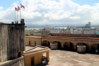 Image of Castillo San Cristóbal near San Juan. old sky cloud castle puerto town san juan cloudy fort district sunny down landmark historic rico cumulus pr caribbean cristobal castillo sju benteng konomark