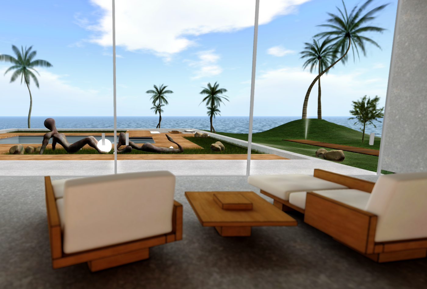 A view to the deck and the pool from the Nevada House living room