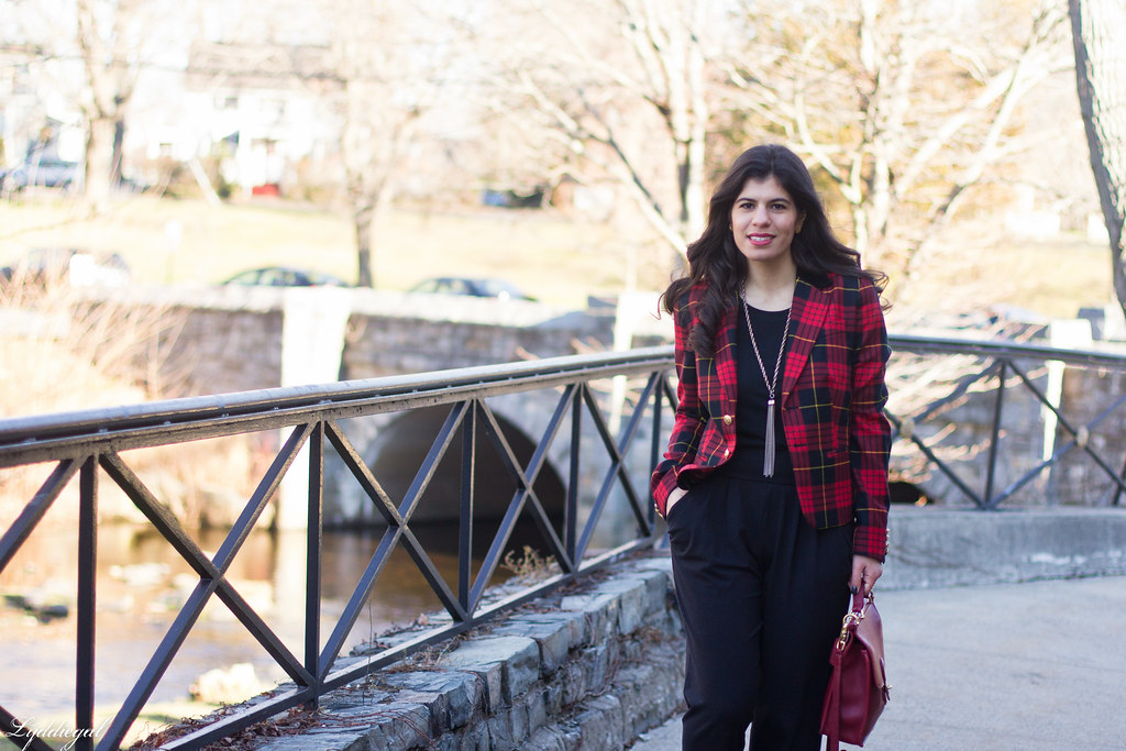 faux jumpsuit, red plaid blazer, red coach bag-2.jpg