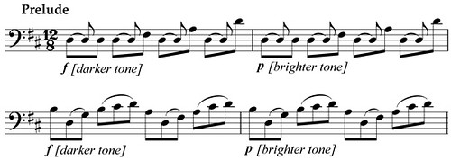 From JS Bach, Prelude to Suite No. 6 for Cello