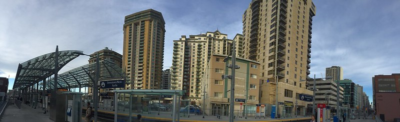 Downtown Calgary East End Panorama of condo buildings