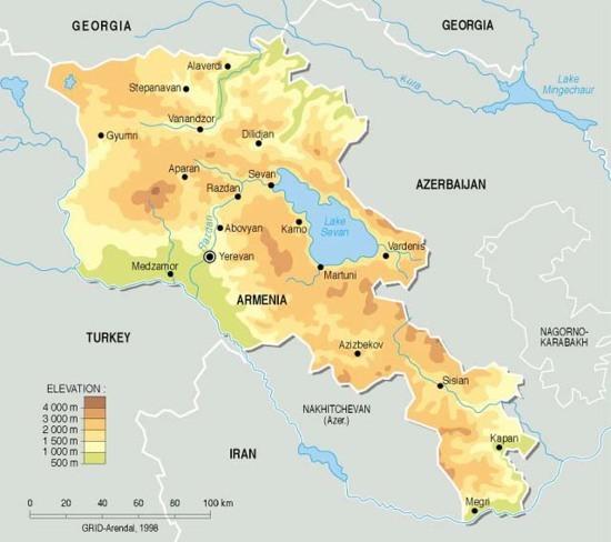 Armenia, topographic map | GRID-Arendal