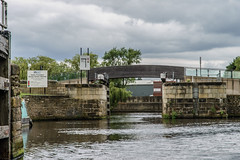 Going through Wakefield Flood Lock to join the River Calder once more