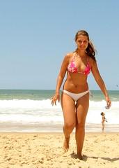 model, beach, clothing, sea, girl, muscle, limb, leg, thong, photo shoot, sun tanning, vacation, swimwear, bikini, beauty,