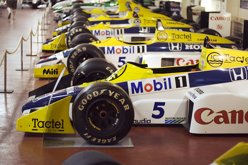 Line of Nigel Mansell's Williams F1 Cars