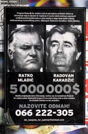 A wanted posters for  Ratko Mladic and Radovan Karadzic