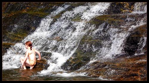 waterfall bather