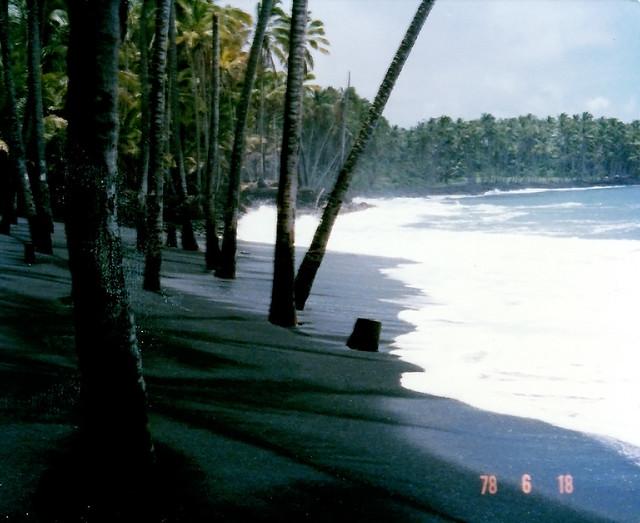 Kalapana World Famous Black Sand Beach in Hawaii.