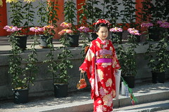 woman(0.0), child(1.0), geisha(1.0), flower(1.0), clothing(1.0), red(1.0), kimono(1.0), female(1.0), floristry(1.0), costume(1.0), person(1.0), dress(1.0),