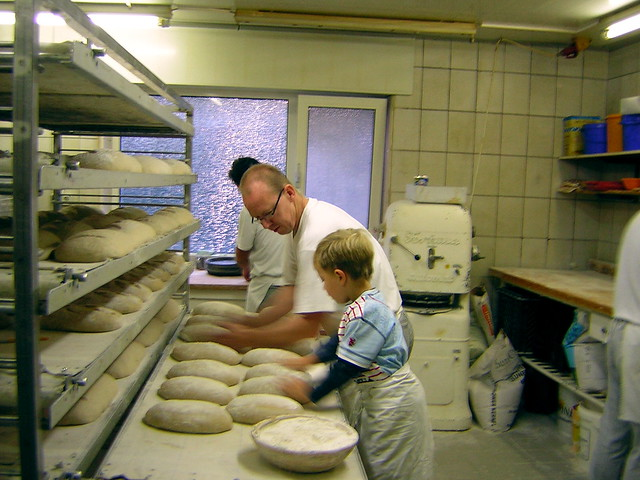 in the bakery: father and son