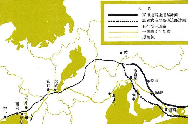 神戸が終点になっている名神高速道路の路線図