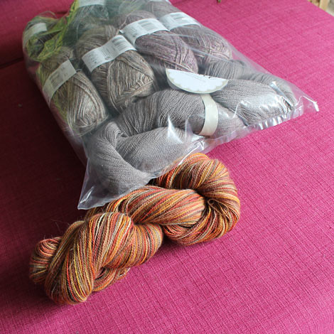 drops fabel and lace next to misti alpacas yarn