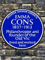 Photo of Emma Cons blue plaque