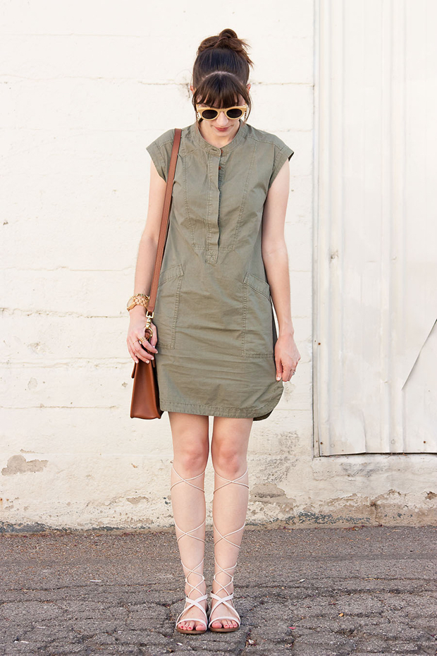J.Crew Casual Dress, Lace Up Sandals, Wood Accessories