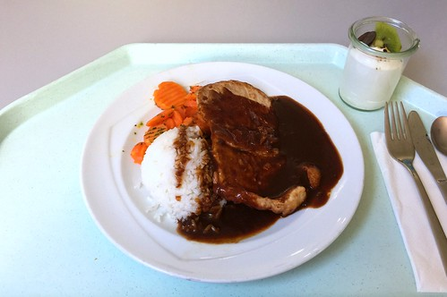 Japanese ginger steak with honey carrots & rice / Japanisches Ingwersteak mit Honigkarotten & Reis
