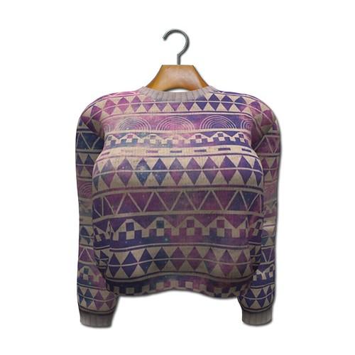 {MYNX} Cropped Sweater - Geometric Tribal