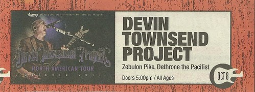 10/08/11 Devin Townsend Project/ Zebulon Pike/ Dethrone the Pacifist @ Station 4, St. Paul MN