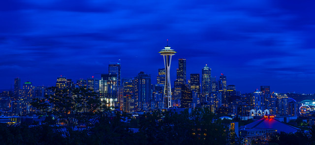 Seattle Skyline Blue Hour from Kerry Park