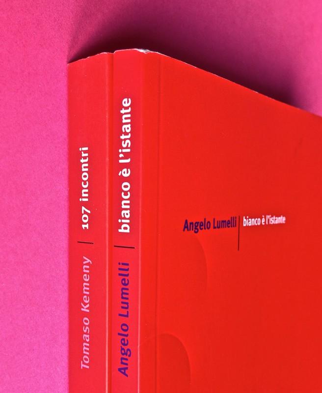 Edizioni del Verri / Collana rossa. Progetto grafico di Valerio Anceschi e Giovanni Anceschi. Due dorsi, una copertina (part.), 2