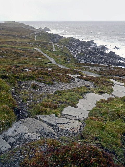 A Stone Path Leads Around the Cliffs at Malin Head in Ireland