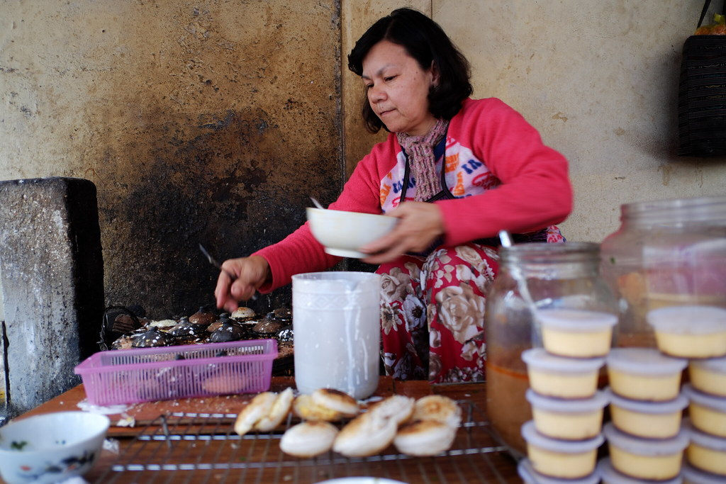 "Making ""bánh căn"" in Dalat City"