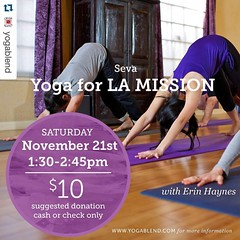 #Repost @yogablend with @repostapp. ・・・ Join @erin_haynes_yoga tomorrow for an all levels donation class benefiting the LA Misson❤️ Do something great for those in need and something great for yourself!  #burbank #yogablend #yoga #donation #give #he