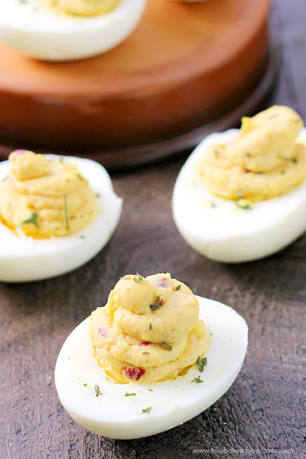 Chipotle Deviled Eggs close up.