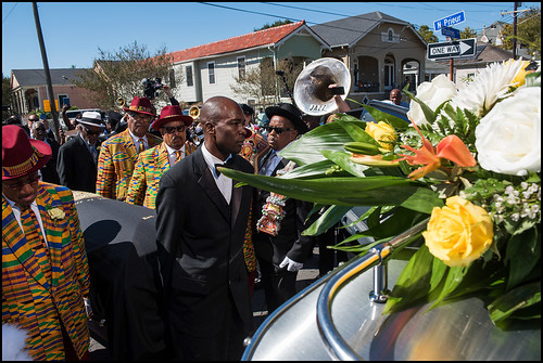Funeral second line for Edwin Harrison on October 21, 2016 in Treme. Photo by Ryan Hodgson-Rigsbee - rhrphoto.com